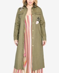 Rachel Roy Trendy Plus Size Cotton Embroidered Duster Jacket Army