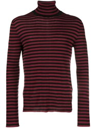 Saint Laurent Striped Turtle Neck Jumper Red