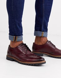 Base London Grundy Brogues In Bordo Red