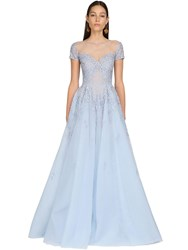 Zuhair Murad Embroidered Tulle And Lace Long Dress Light Blue