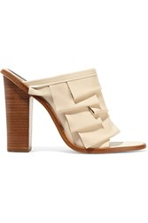 Tibi Chase Tiered Leather Sandals White