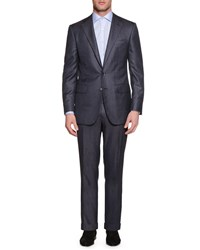 Stefano Ricci Tonal Stripe Two Piece Cashmere Blend Suit Gray Grey