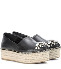 Miu Miu Embellished Leather Platform Espadrilles Black