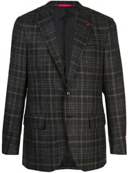 Isaia Plaid Wool Blazer Brown