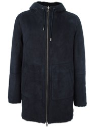 Desa 1972 Hooded Leather Coat Blue