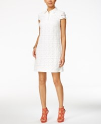 Betsey Johnson Floral Lace Shirtdress White