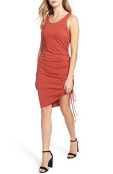Trouve Side Shirred Body Con Dress Red Ochre