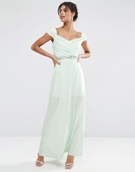 Asos Embellished Waist Bardot Soft Maxi Dress Mint Green