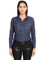 Marina Rinaldi Cotton Denim Bodysuit Blue