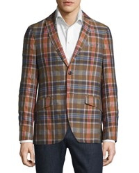 Etro Madras Plaid Linen Cotton Blazer Beige