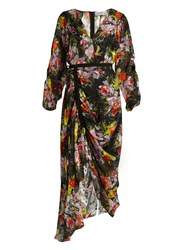 Preen Cora Floral Print Silk Devore Dress Black Multi