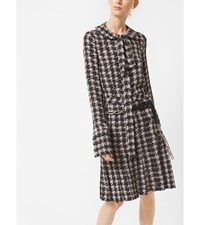 Houndstooth Silk Georgette Bow Blouse