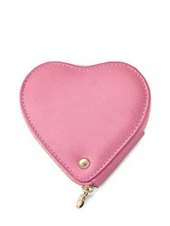 Aspinal Of London Heart Coin Purse In Blossom Kaviar And Blush Suede Pink