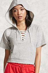 Forever 21 Boxy Lace Up Hoodie Heather Grey