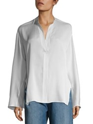 Vince Stand Collar Silk Blouse White