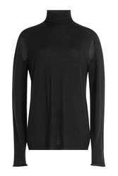Rick Owens Wool Turtleneck Pullover With Cut Out Detail Black