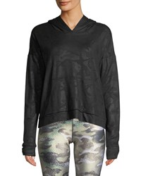 Terez Camo Foil Printed Cross Back Hoodie Sweatshirt Black