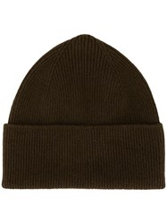 Margaret Howell Ribbed Knit Beanie Brown