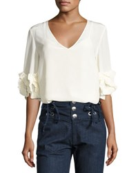 See By Chloe Half Sleeve Fluid Silk Blouse White