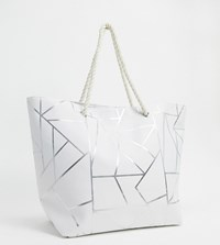 South Beach Exclusive Geometric Print Tote Bag In White Canvas