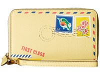 Vera Bradley Rfid Grab Go Wristlet Banana With Cuban Stamps Wristlet Handbags Yellow