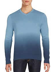 Vince Camuto Ombre Cotton V Neck Sweater Slate Navy