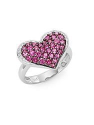 Effy Final Call Diamond Ruby And 14K White Gold Heart Ring