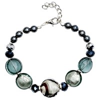 Martick Candy Cane Swirl Murano Glass And Crystal Bracelet Platinum Black