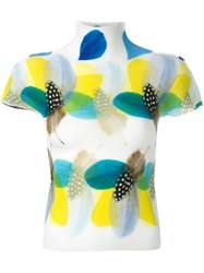 Issey Miyake Cauliflower Feather Print Knitted Top