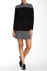 Orla Kiely Colorblock Mohair Blend Sweater Dress Gray