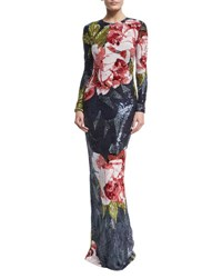 Naeem Khan Fully Beaded Floral Silk Column Gown Navy