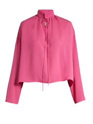 Balenciaga Long Sleeved Silk Blouse Pink