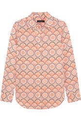 Kate Moss For Equipment Slim Signature Printed Washed Silk Shirt Peach