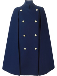 Pierre Balmain Double Breasted Cape Coat Blue