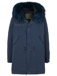 Mr And Mrs Italy Fur Collar Parka Cotton Leather Rabbit Fur Racoon Fur L Blue