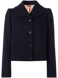 Jil Sander Navy Single Breasted Cropped Jacket Blue