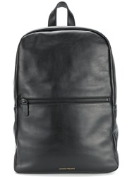 Common Projects Front Zip Backpack Calf Leather Black