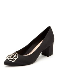 Taryn Rose Maci Satin Crystal Block Heel Evening Pumps Black