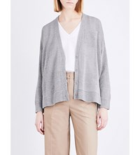 Brunello Cucinelli V Neck Cotton Cardigan Light Grey