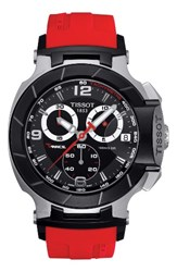 Tissot Men's T Race Chronograph Silicone Strap Watch 50Mm Red Black Silver
