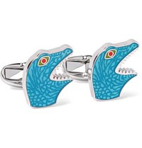Paul Smith Dinosaur Enamelled Silver Tone Cufflinks Blue