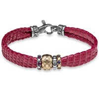 Platadepalo Red Snake Style Leather Bracelet With Silver And Bronze