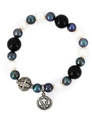 Loree Rodkin Mixed Pearl Peace Charm Bracelet Black