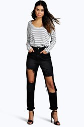 Boohoo High Waisted Dirty Wash Distressed Mom Jeans Black