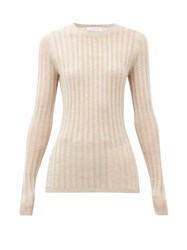 Gabriela Hearst Collins Lace Ribbed Cashmere Blend Sweater Beige