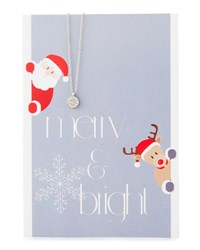 Lydell Nyc Circle Necklace With Merry And Bright Card Silver
