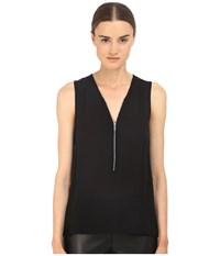 The Kooples Mixed Materials Woven Jersey Tank Top Black