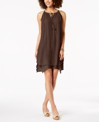 Styleandco. Style Co Handkerchief Hem Sleeveless Dress Deep Mocha