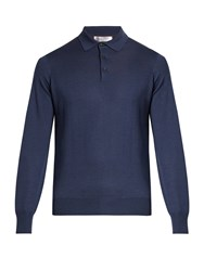 Brunello Cucinelli Long Sleeved Wool And Cashmere Blend Polo Shirt Blue