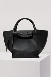 C Line Small Big Bag With Long Strap In Supple Grained Calfskin